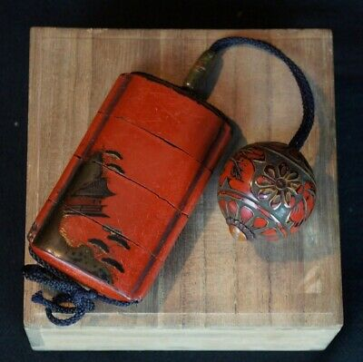 Antique Japanese Inro lacquered medicine box 1780s Japanese lacquer craft