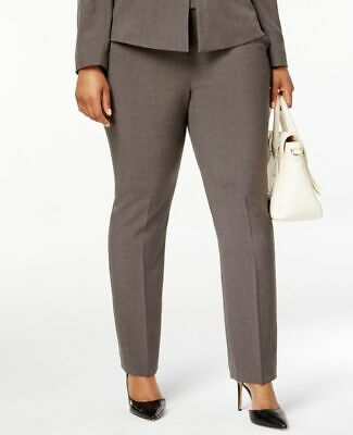 $200 Tahari Asl Women'S Grey Mid Rise Straight Leg Fit Career Trousers Size 14w