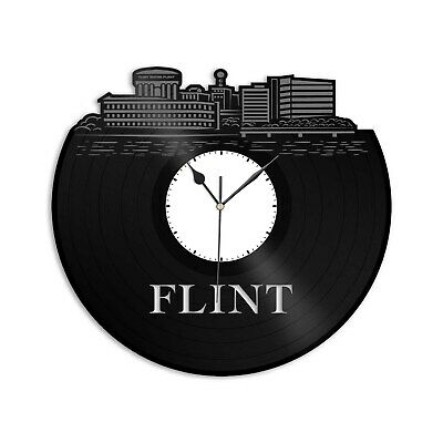 Flint MI Vinyl Wall Clock Vintage Unique Gift for Friends Home Room Decoration