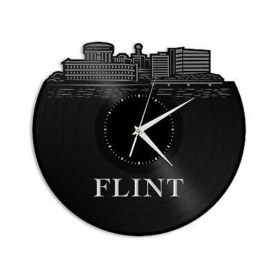Flint MI Vinyl Wall Clock Skyline Exclusive Unique Gift Vintage Home Decoration