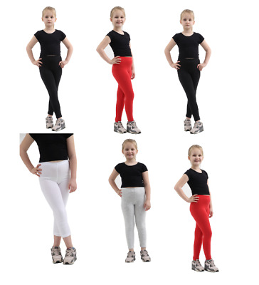 Girls Kids Childrens Plain Cotton Full Length Leggings Size 1-13 Black/White/Red