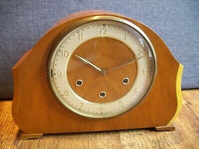 Antique 1930's Smiths Walnut Mantel Clock with Whittington and Westminster Chime