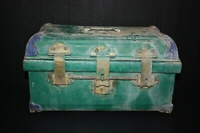 Steel Chest Box Antique Blue And Green Color