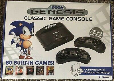 Sega Genesis Classic Game Console 80 Built-in Games (2) Wireless Controllers