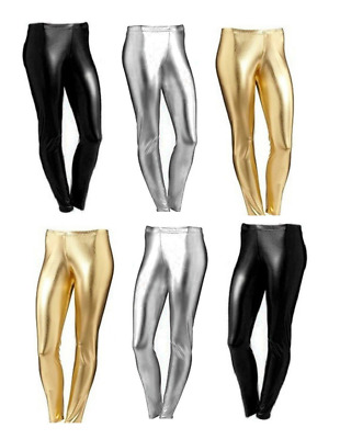 Womens Wet Look Ladies METALLIC LEGGINGS Foil SHINY Plus Size Girls 8-26 3-13Yrs