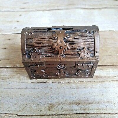 Vintage Cast Iron Treasure Chest Coin Bank