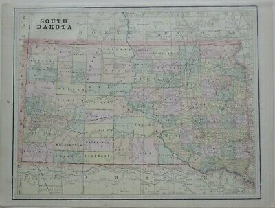 Original 1893 Map SOUTH DAKOTA Indian Reservations Railroads Mines Wounded Knee