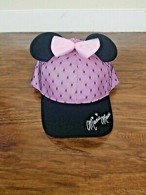 Disney Parks Mickey Ears Minnie Mouse Pink Baseball Hat Cap Bow New Womens