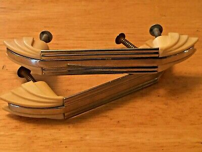 Vtg CHROME DRAWER Door Pulls Handles Lines Stripes IVORY Plastic Trim Art Deco