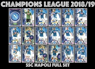 Match Attax Champions League 2018/19 Full 18 Card Team Set Ssc Napoli