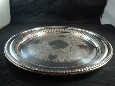 """Vtg Lawrence B Smith Co LBS 8142 Silverplate Superfine Rd Tray - 13.5"""" Diameter"""