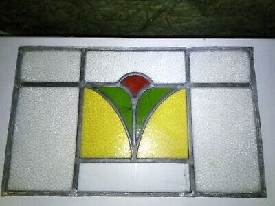 Reclaimed Vintage Stained Glass Window Panel, 25.5cm high