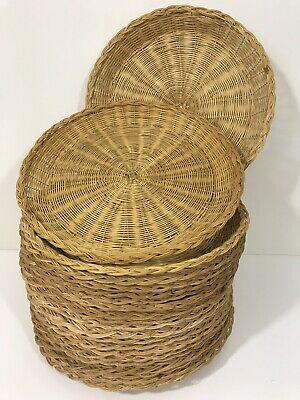 vintage Wicker Bamboo Rattan Paper Plate Basket Style Holder Natural Lot of 21