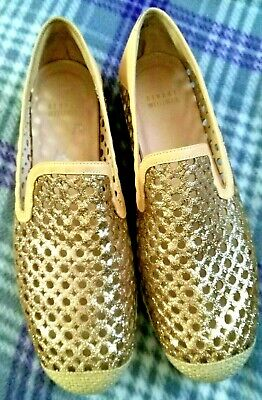 d1c5d321a7a4 Stuart Weitzman 9.5M County Gold Glitter Perforated Espadrilles Flats  Loafers
