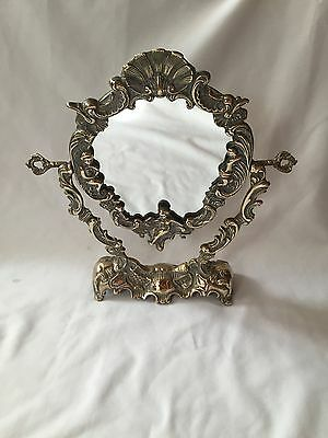 Vintage Louis Style Reproduction French Ladies Boudoir Brass Putti Rococo Mirror