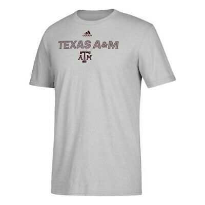 4b4a2fba8 Texas A&M Aggies NCAA Adidas Grey 2018 Sideline Text Graphic Climalite  T-Shirt