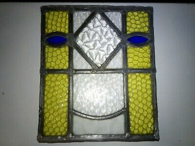 Reclaimed Vintage Stained Glass Window Panel, 26.5cm high
