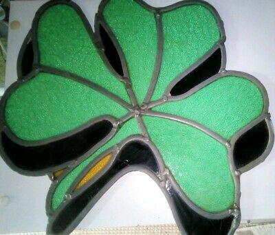 Green Leaf Clove Shape Reclaimed Vintage Stained Glass Window Panel,