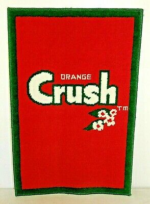 "NOS Vintage 1970s ORANGE CRUSH Advertising RUG MAT, Soda Pop, 18""x 27"""