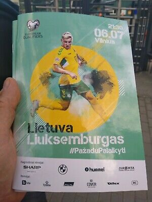 2019 Lithuania v. Luxembourg. (Euro 2020 Qualifier).  Official programme.  Rare!