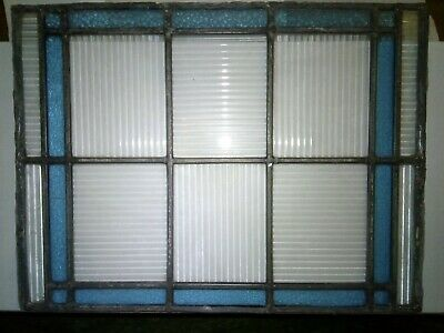 Single Blue and Clear Reclaimed Vintage Stained Glass Privacy Window Panel,