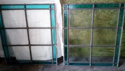 Pair of Blue and Clear Reclaimed Vintage Stained Glass Privacy Window Panel,