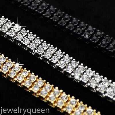 14K White Gold Onyx 2 Row Iced Out Tennis Chain Choker Clear CZ Stone Men HipHop