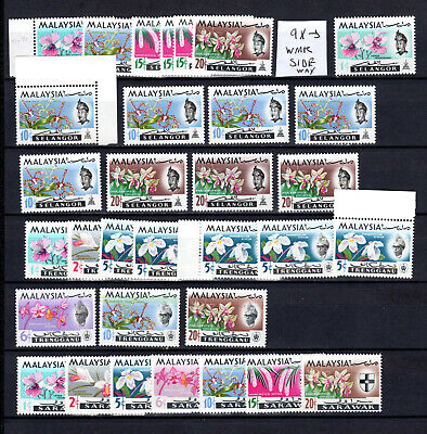 Malaysia 1965 Orchid Flowers  States Selection Of Mnh Stamps Un/Mm