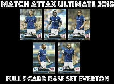 Match Attax Ultimate 2018/19 Full 5 Card Team Set Everton