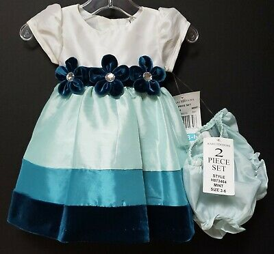 NWT RARE EDITIONS GIRLS SIZE 18 MO TWO PIECE DRESS SET TURQUOISE//WHITE MSRP $30