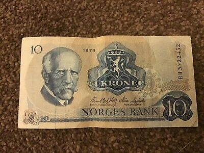 1979 Norway 10 Ti Kroner Norges Bank Note