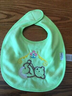 Baby Bib Green Baby Brown Bear Pink Flower One Size Fits All