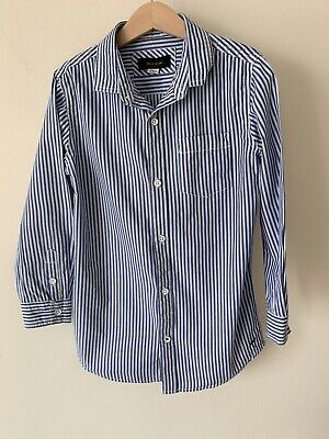 Boys River Island Age 7-8 Blue Stripped Long Sleeve Shirt