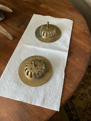 VINTAGE CAST BRASS Matching Sink Drain Covers Raised With Handles Ornate Antique