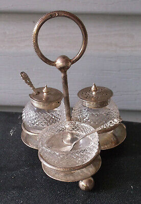"Antique Walker & Hall Miniature Glass Silver Plate Castor Condiment Set 4 3/4"" T"
