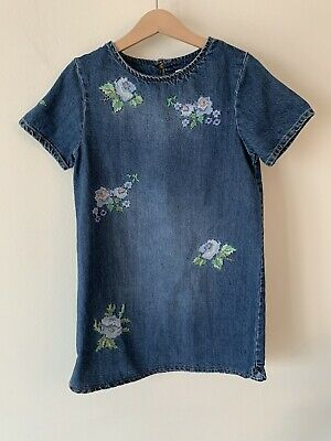 Girls Next Denim Pinafore Dress Age 8 Embroidered Flowers
