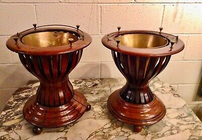 Antique British Sheraton Mahoganey Fireside Peat Buckets Coolers Planters (pair)