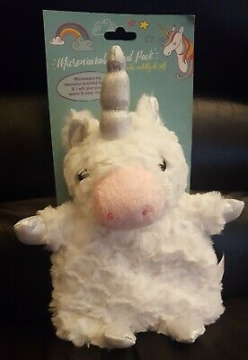 Microwaveable White Cuddly Unicorn Lavendar Scented Heat Pack Cute Soft Gift