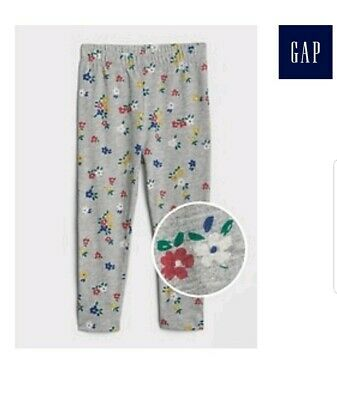 0dc5fe8c95ad8 Baby Gap Toddler girl gray Floral Print Leggings in Stretch Jersey sz.18-24M