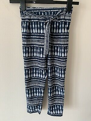 Girls F&F Patterned Blue Soft Elasticated Waist Trousers Age 6