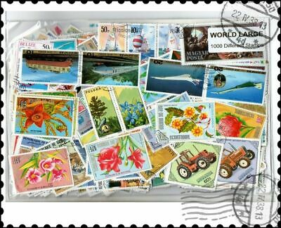 World Large & Commemoratives : 1000 Different Worldwide Stamps Collection