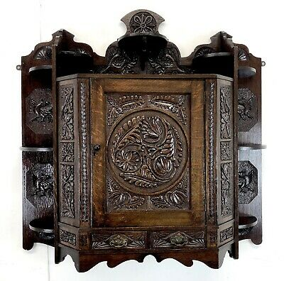 Stunning antique oak Wall Mounted unit victorian gothic revival carved