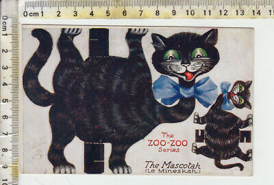 "TUCK ""OILETTE"" No. 3397 ""ZOO-ZOO Series"" - ""The Mascotah  Le Mineskah.)"" Cut Out"