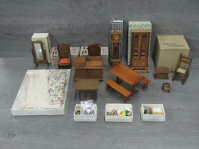 Lot of Vintage Wooden Dollhouse Furniture Many w/ Original Boxes w/ Accessories