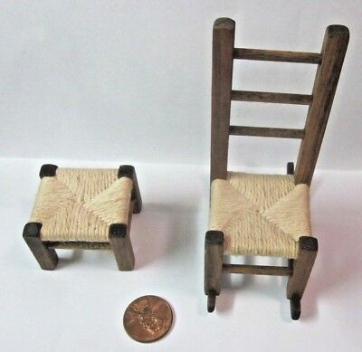 Vintage Set 2 Dollhouse 1:12 Wood Furniture Rocking Chair Woven Seat W/ Footrest