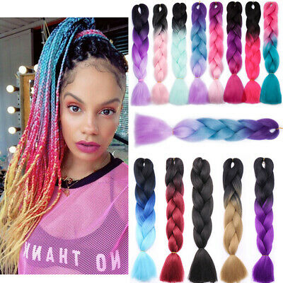 Rainbow Ombre Afro Box Braids Xpression Jumbo Braiding Hair Extensions For Human