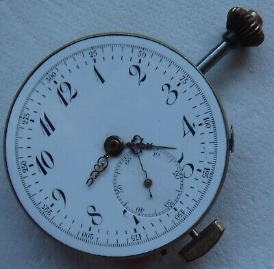 Repeater & Chronograph pocket watch movement & enamel dial 50 mm. in diameter