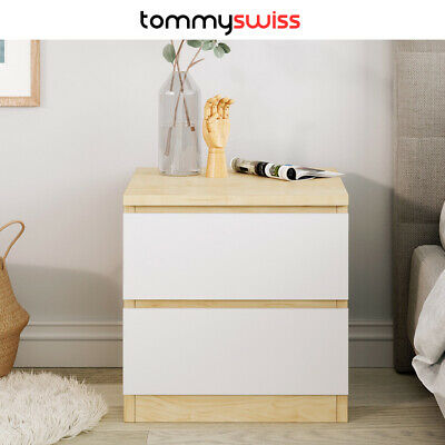 Wooden Bedside Table with White Drawers, Scandinavian Nightstand Unit Storage