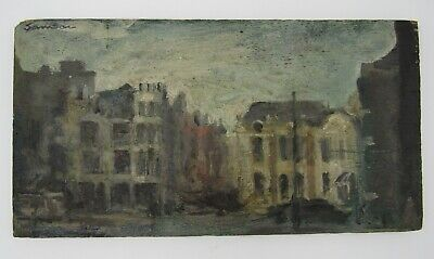 Charming Signed impressionist oil painting on oak panel cityscape Samson? 5x9.5""