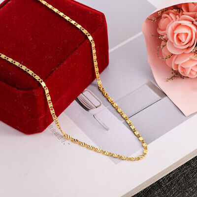 2MM Unisex 18K Gold Filled Necklace Wedding Flexible Engagement  Jewelry 16-30""